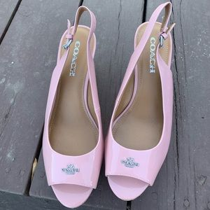 Coach sandals pastel pink cork wedges.